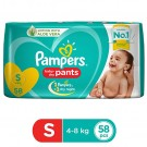 PAMPERS BABY DRY PANTS SMALL 58DIAPERS